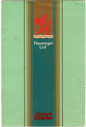 Photo: Cunrad Line Queen Mary LIST of Passengers Cover Page
