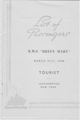 Photo: Cunrad Line Queen Mary LIST of Passengers Page 1