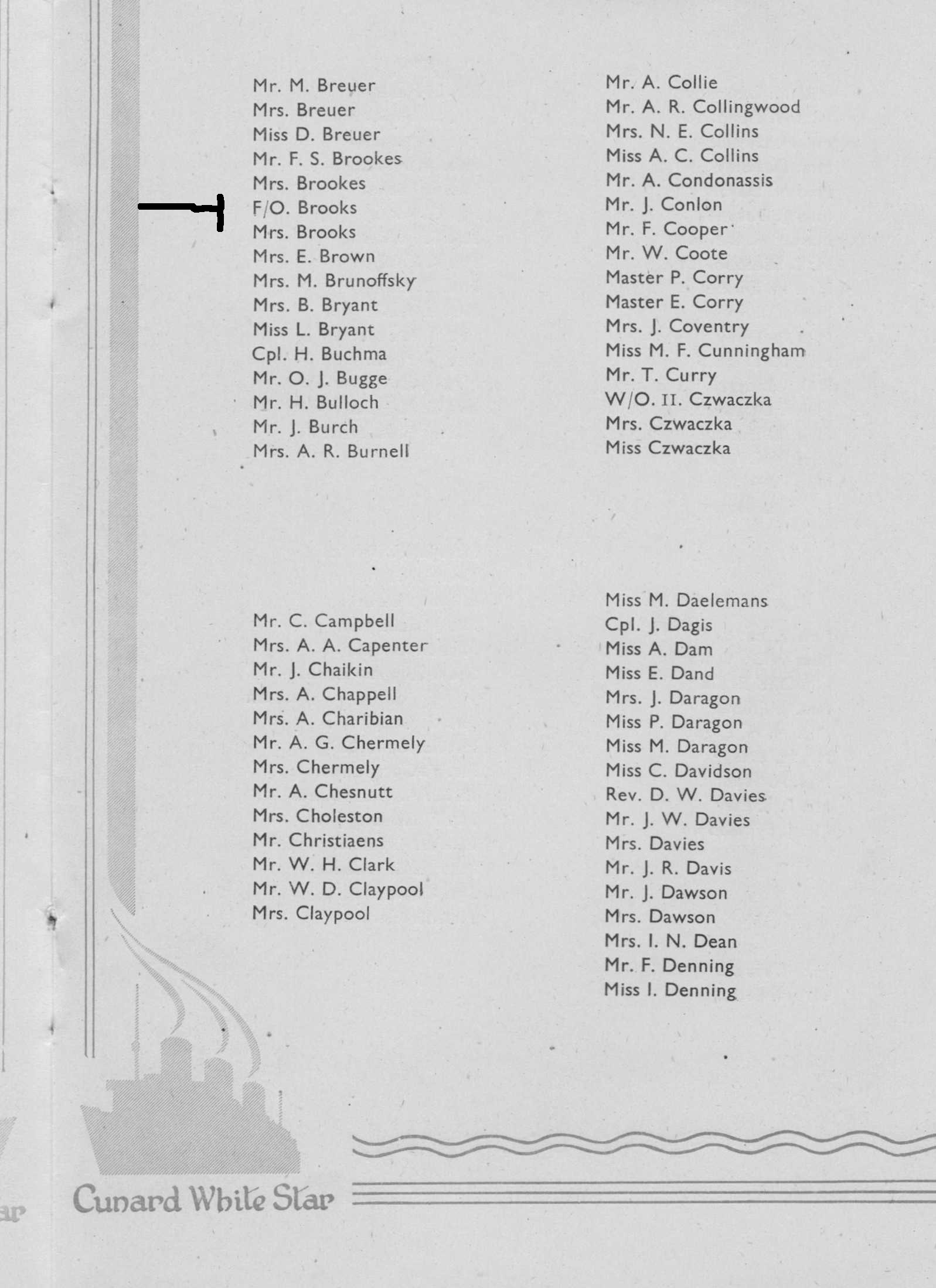 Photo: Cunrad Line Queen Mary LIST of Passengers Page 4