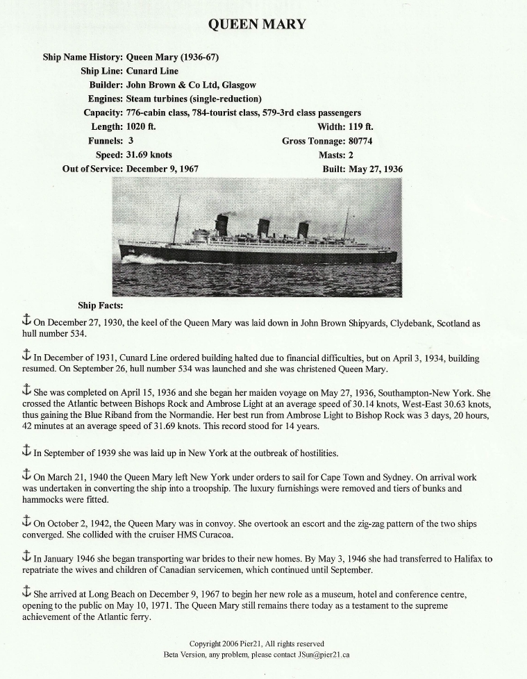 Photo: Cunrad Line Queen Mary Fact Sheet
