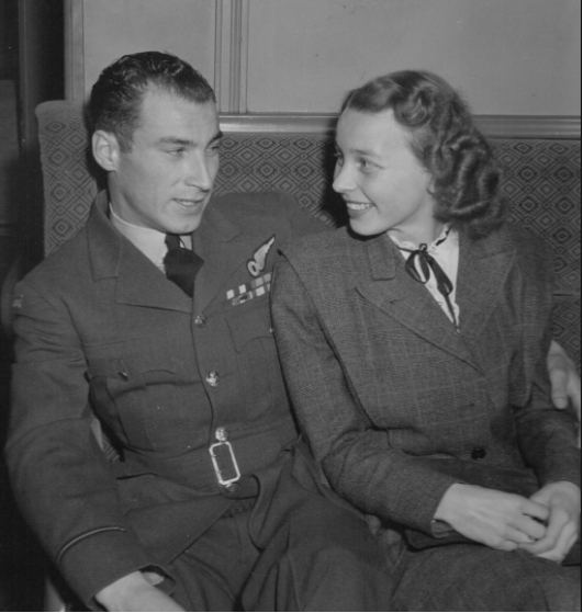 Photo: Hubert Brooks and new wife Birthe on train from New York to Ottawa's Union Station April 7,1948
