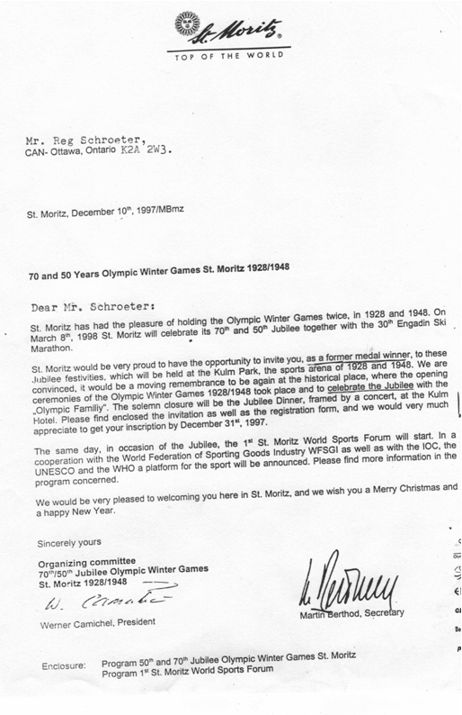 Photo: St Moritz Letter 50 yrs since 1948 Winter Olympics