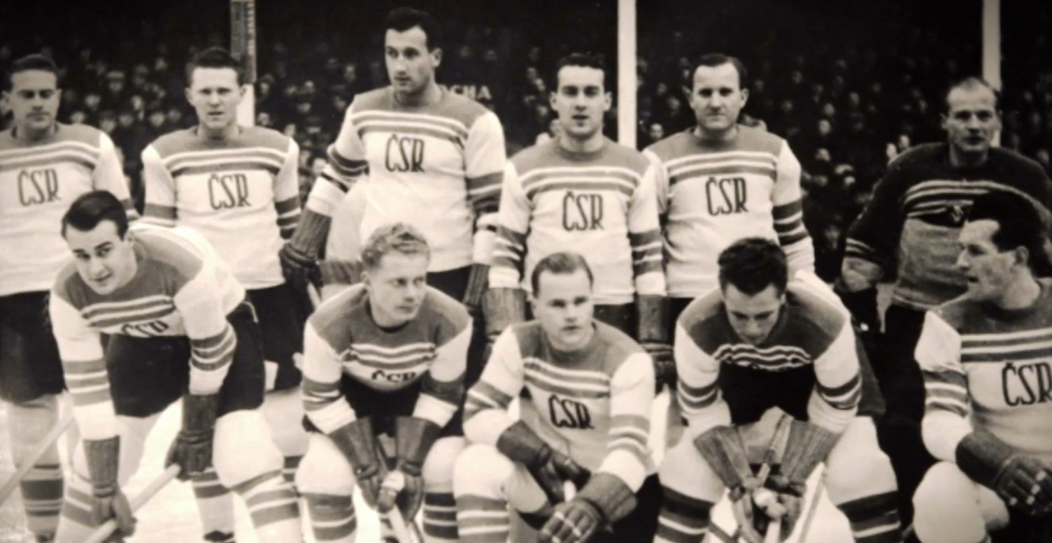 Photo:  Czech Olympic Hockey Team  at Winter Stadium  Feb 17, 1948
