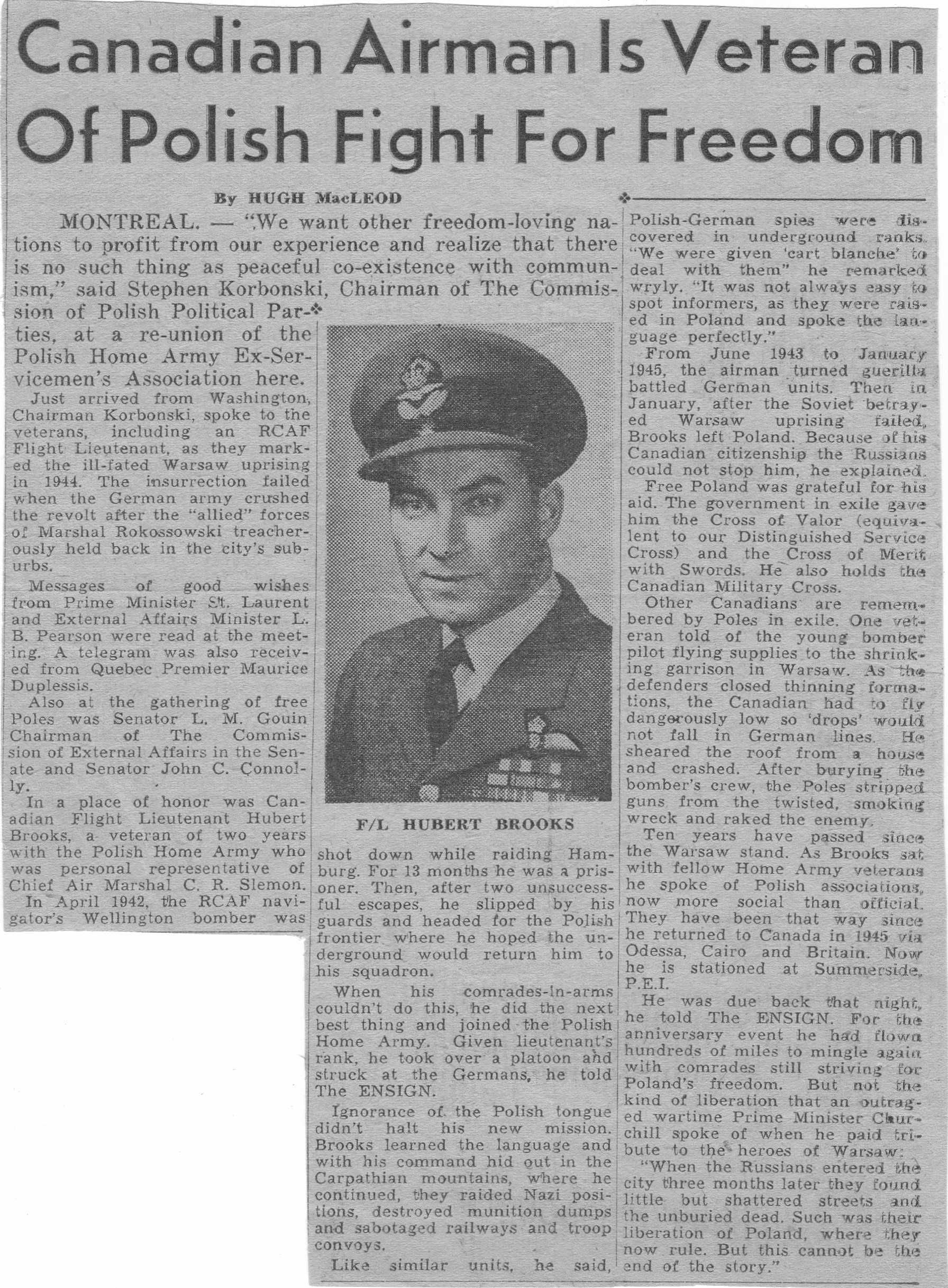 Photo: Newspaper Article on Hubert Brooks Veteran of Polish Freedom Fight