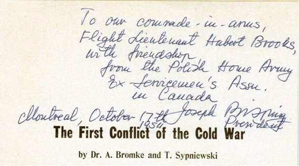 Photo: Inscription thanking Hubert Brooks comrade in arms