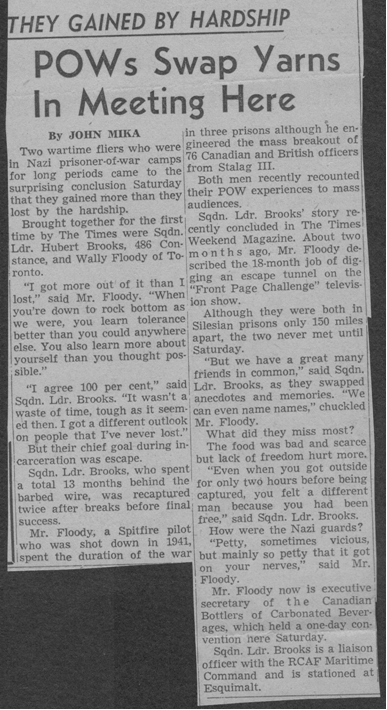 Photo:John Mika newspaper article on POWs (Hubert Brooks) Meeting to exchange Stories