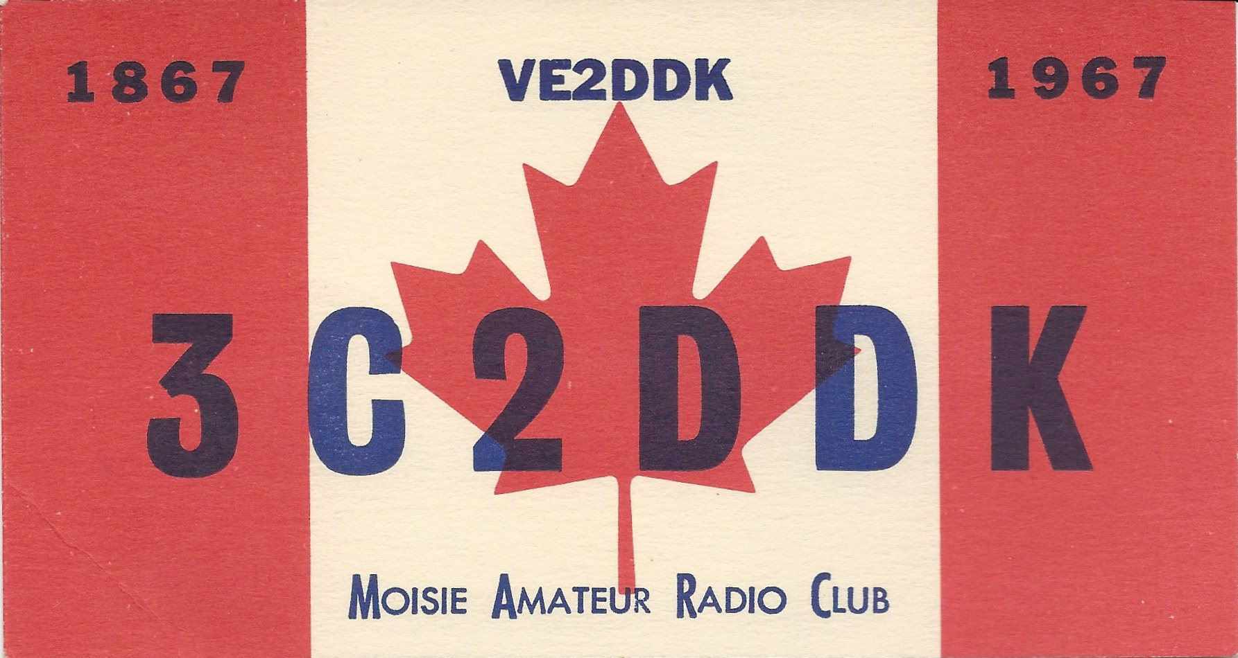 Postcard Call Sign for Amateur Radio Club at RCAF Moisie Sent to Contacted Party