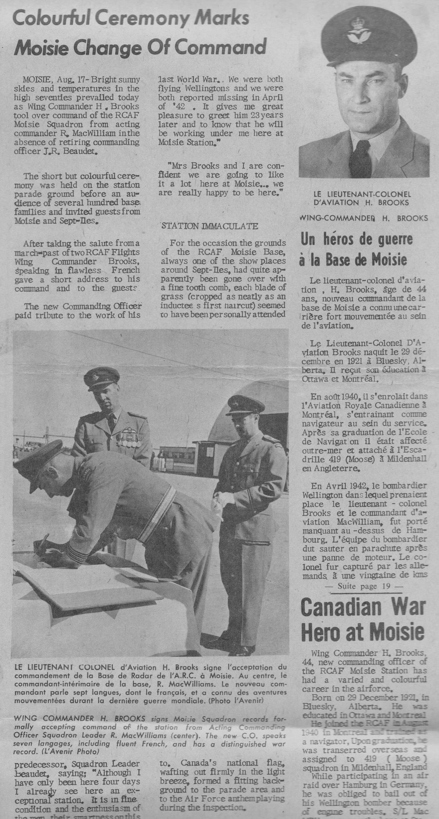 Sept Iles newspaper L'Avenir coverage of Hubert Brooks assuming command of RCAF Moisie