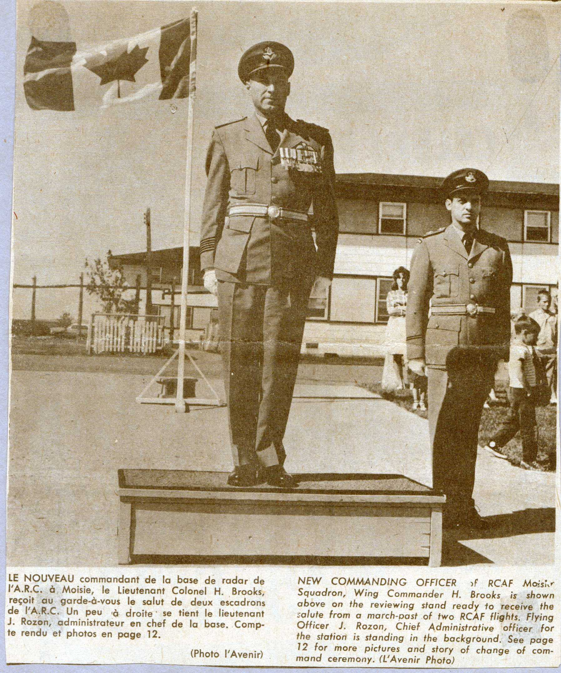 Sept Iles newspaper coverage of Hubert Brooks assuming command of RCAF Moisie 3