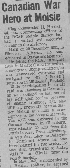 Sept Iles newspaper L'Avenir coverage of Hubert Brooks assuming command of RCAF Moisie 4