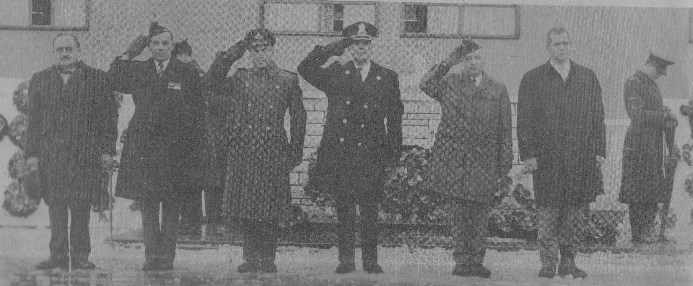 Photo: W/C Hubert Brooks and other officials takes  Remembrance Day Ceremony Salute