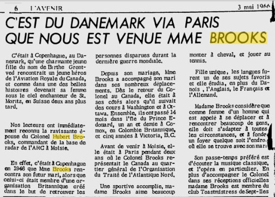 Photo:L'Avenir May 3, 1966 article on Birthe Brooks French