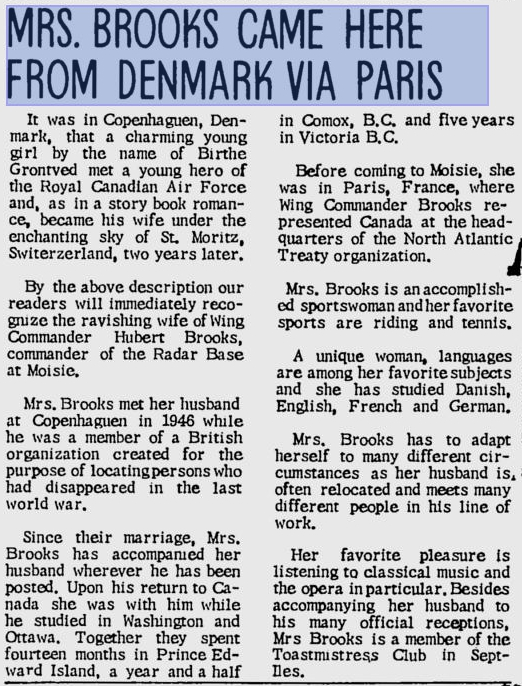 Photo: L'Avenir May 3, 1966 article on Birthe Brooks English