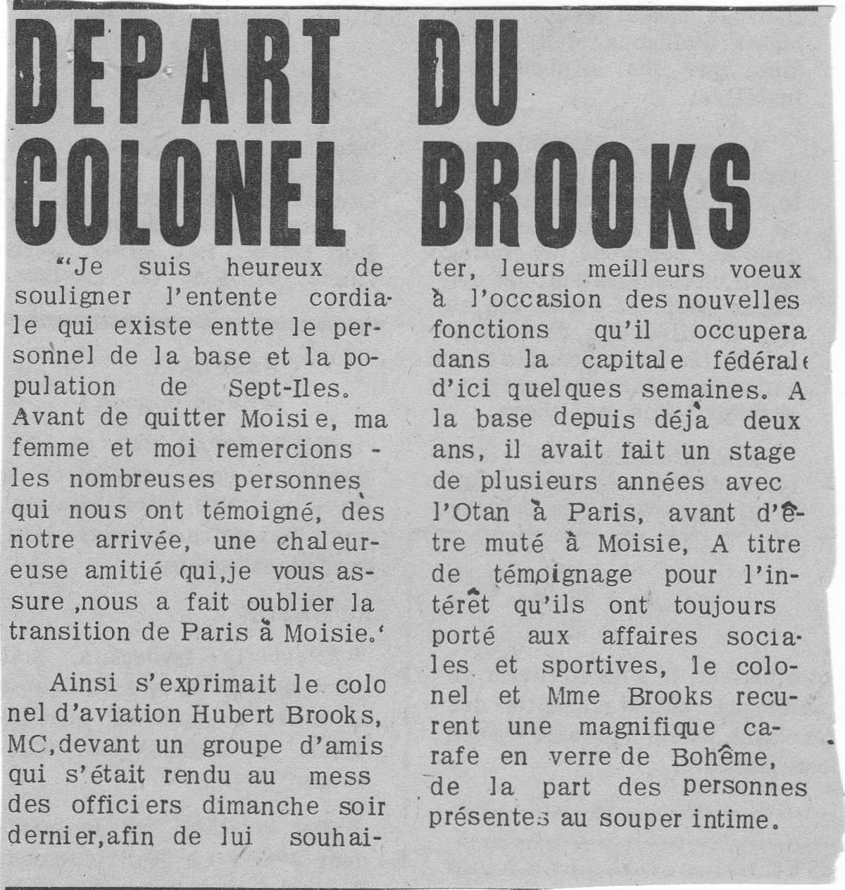 Photo: Newspaper article discussing  Hubert Brooks departure from Moisie