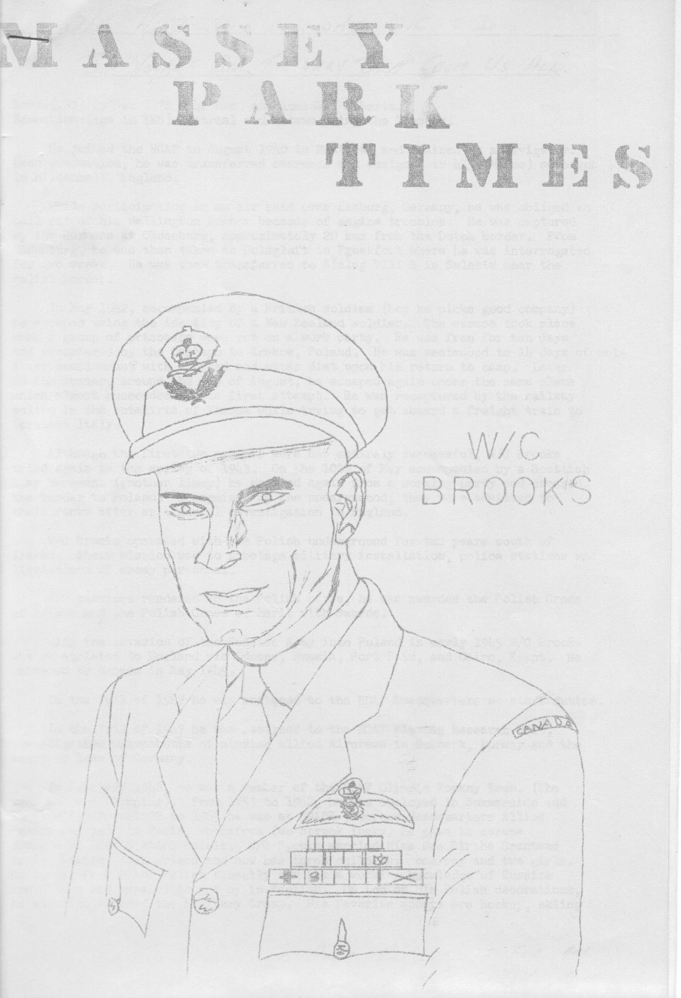 Photo: Cover page Massey Park Times Farewell to W/C H Brooks