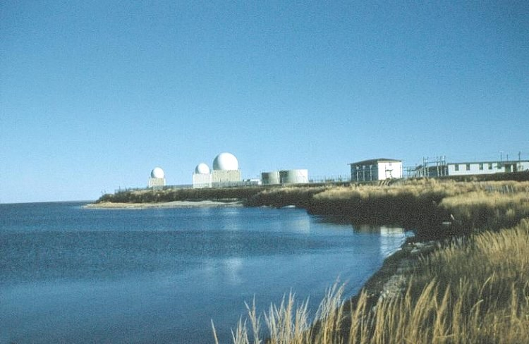 Photo: Aerial View of RCAF Moisie Radar Domes From Beach