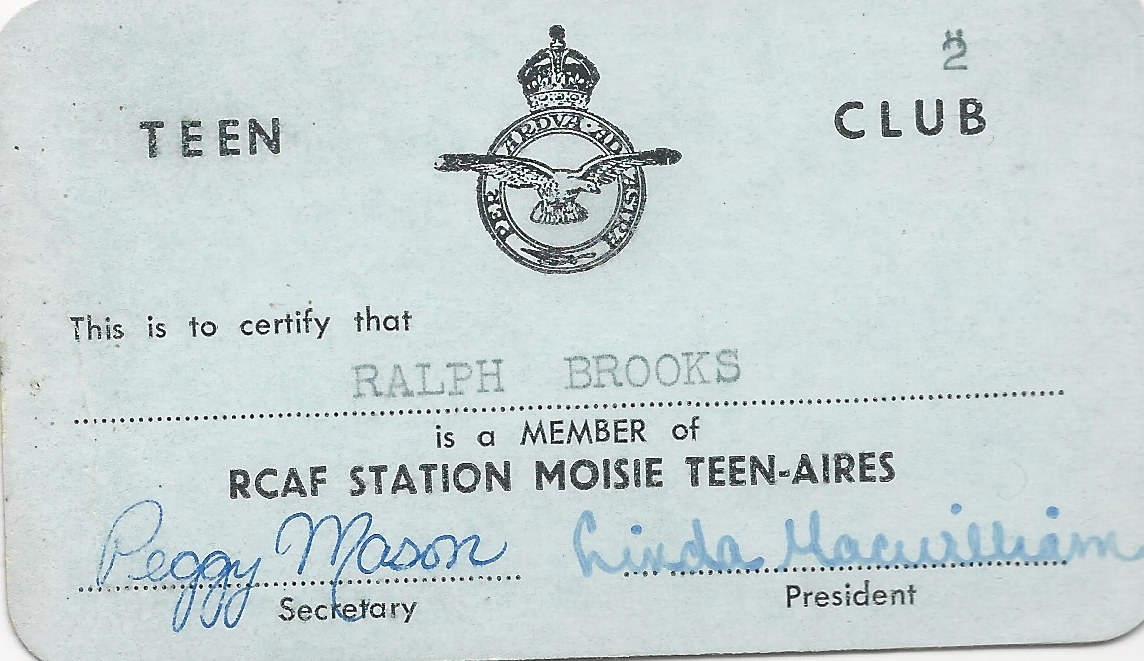 Teen Club Membership Card at RCAF Moisie