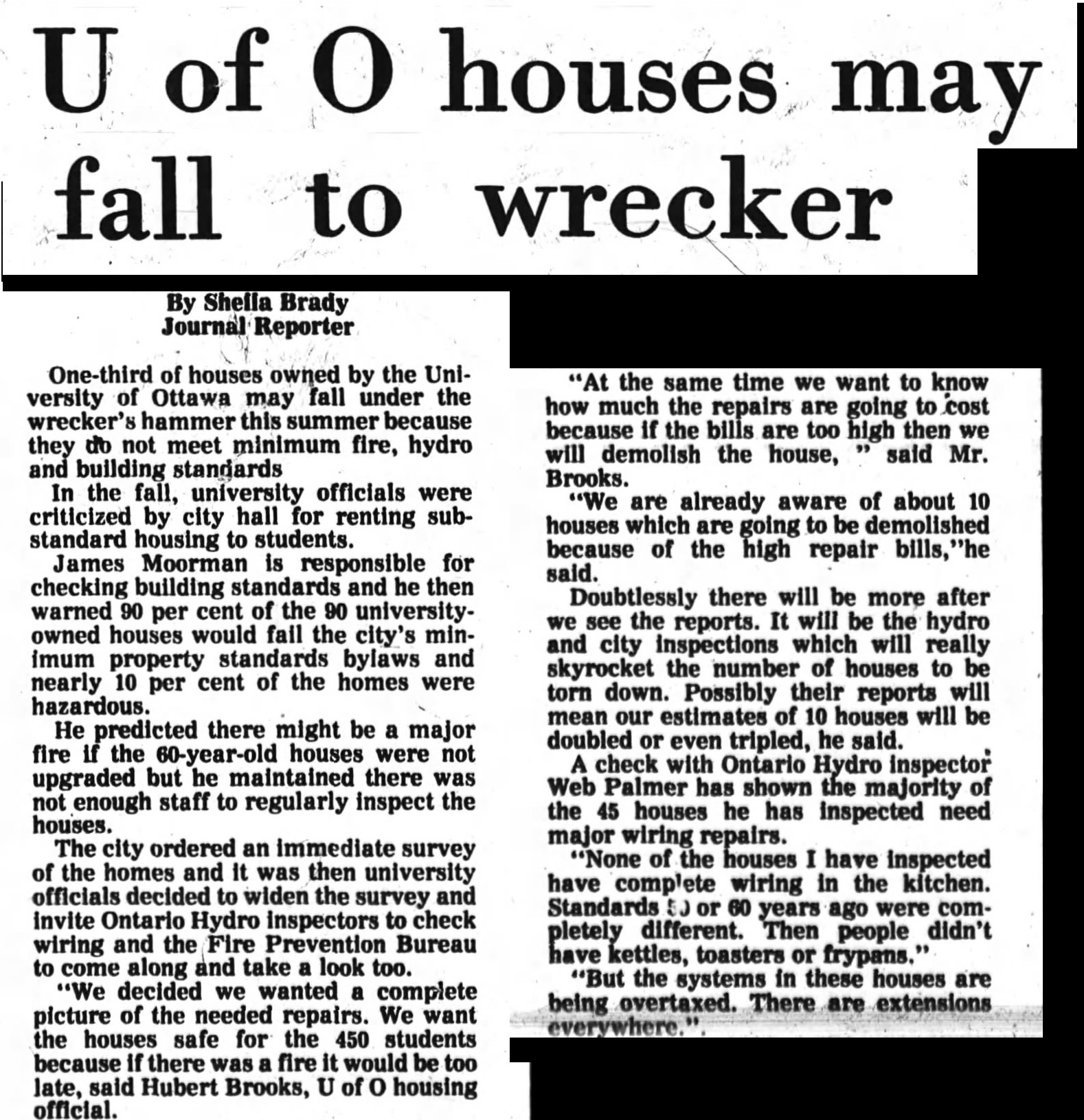 Image: Extract from Ottawa Journal 7 Feb 1977 article on University of Ottawa Housing Issues