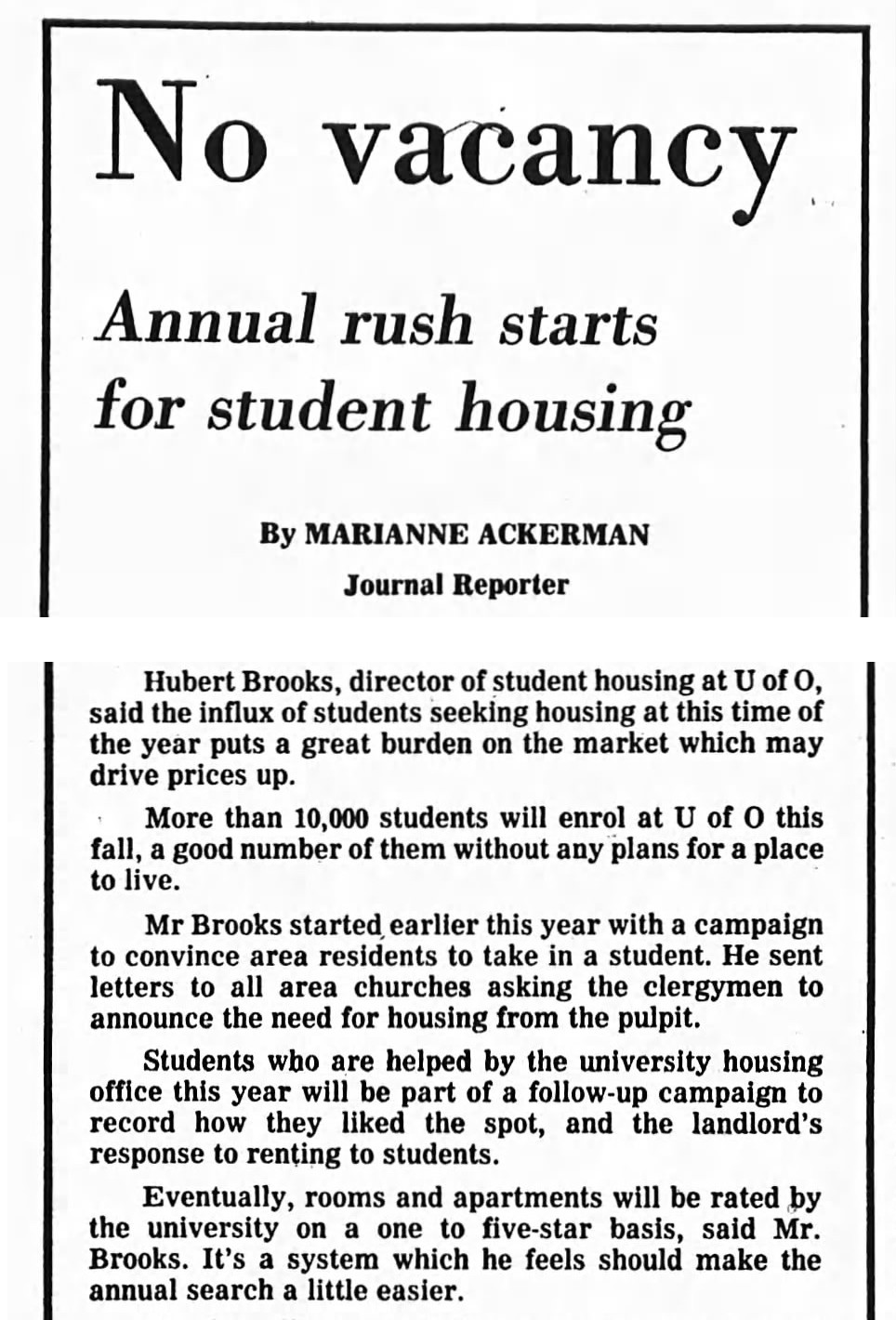 Image: Extract from Ottawa Journal 21 Aug 1976 article on University of Ottawa Housing Issues