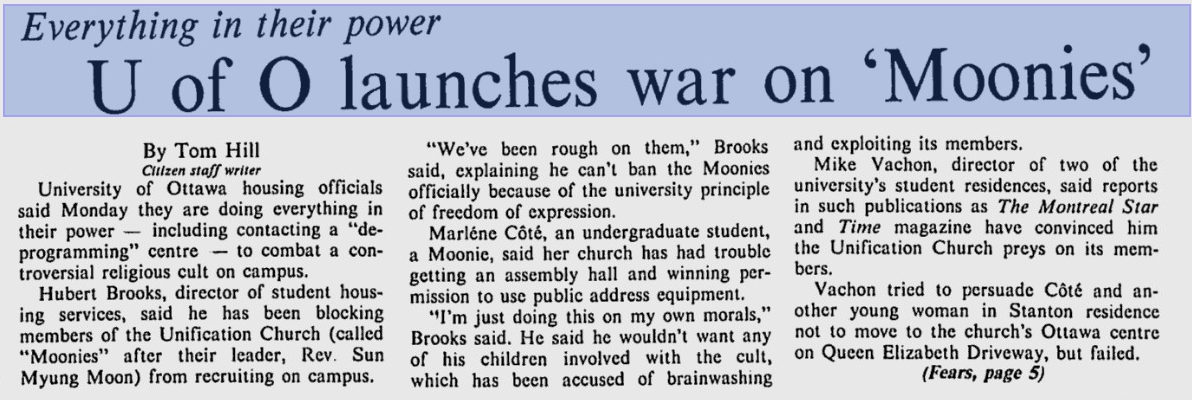 Photo: Ottawa Citizen Article War on Moonies and University of Ottawa 1