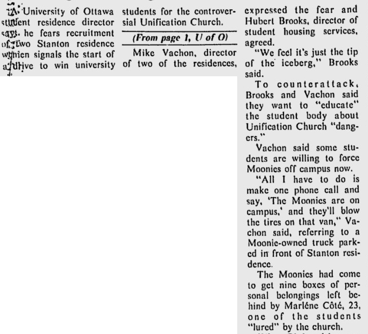 Photo: Ottawa Citizen Article War on Moonies and University of Ottawa 3