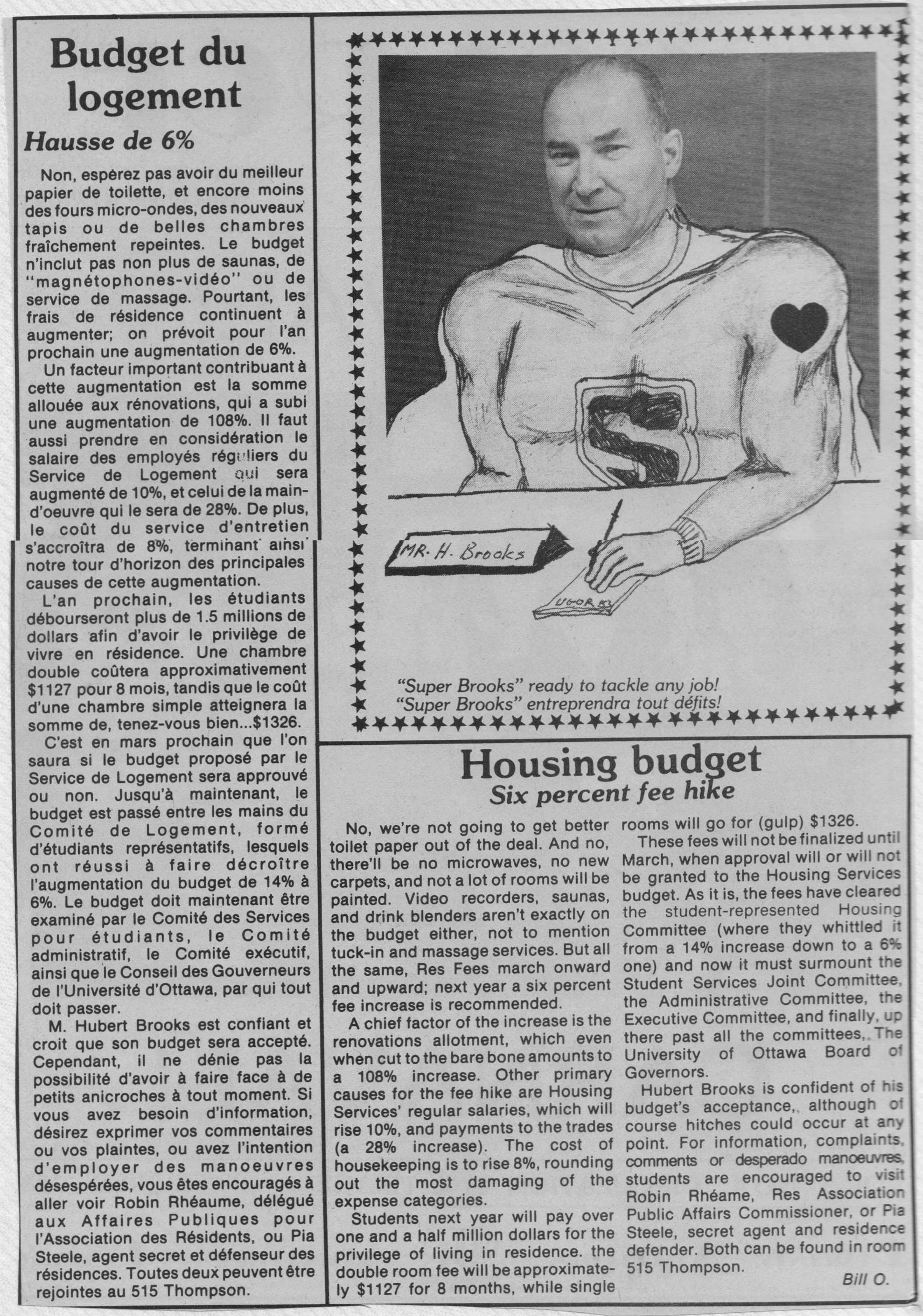Photo: Univ of Ottawa newsarticle on Housing Budget and Super Brooks
