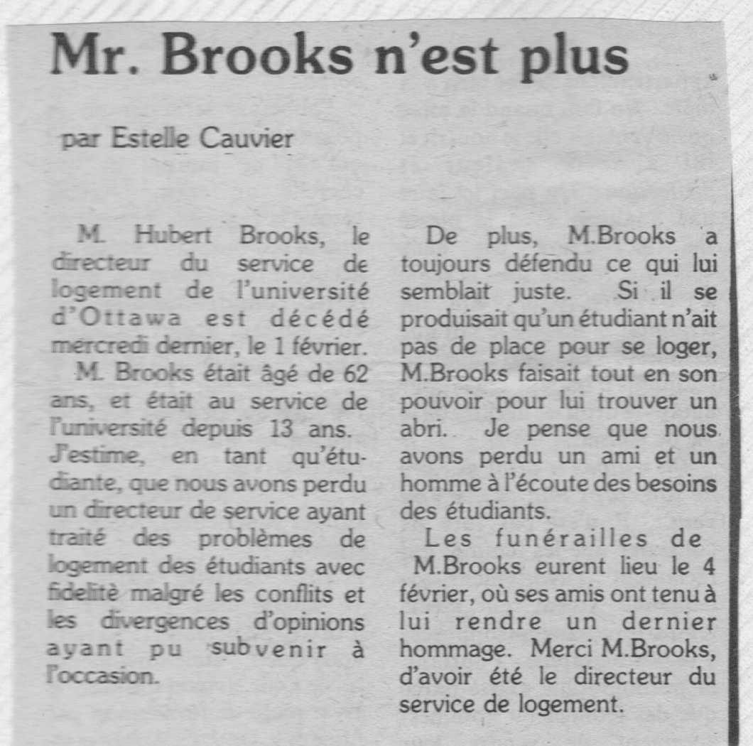 Photo: Hubert Brooks Obituary in Student NewsPaper