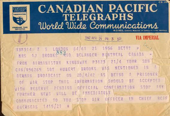 telegram speculating Hubert Brooks was alive but held as a PoW