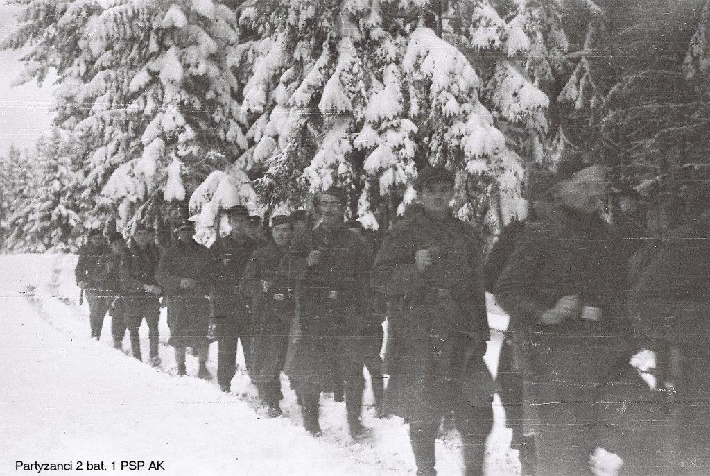 Photo of 2 Batallion of 1PSP AK Marching in Winter 1944/1945