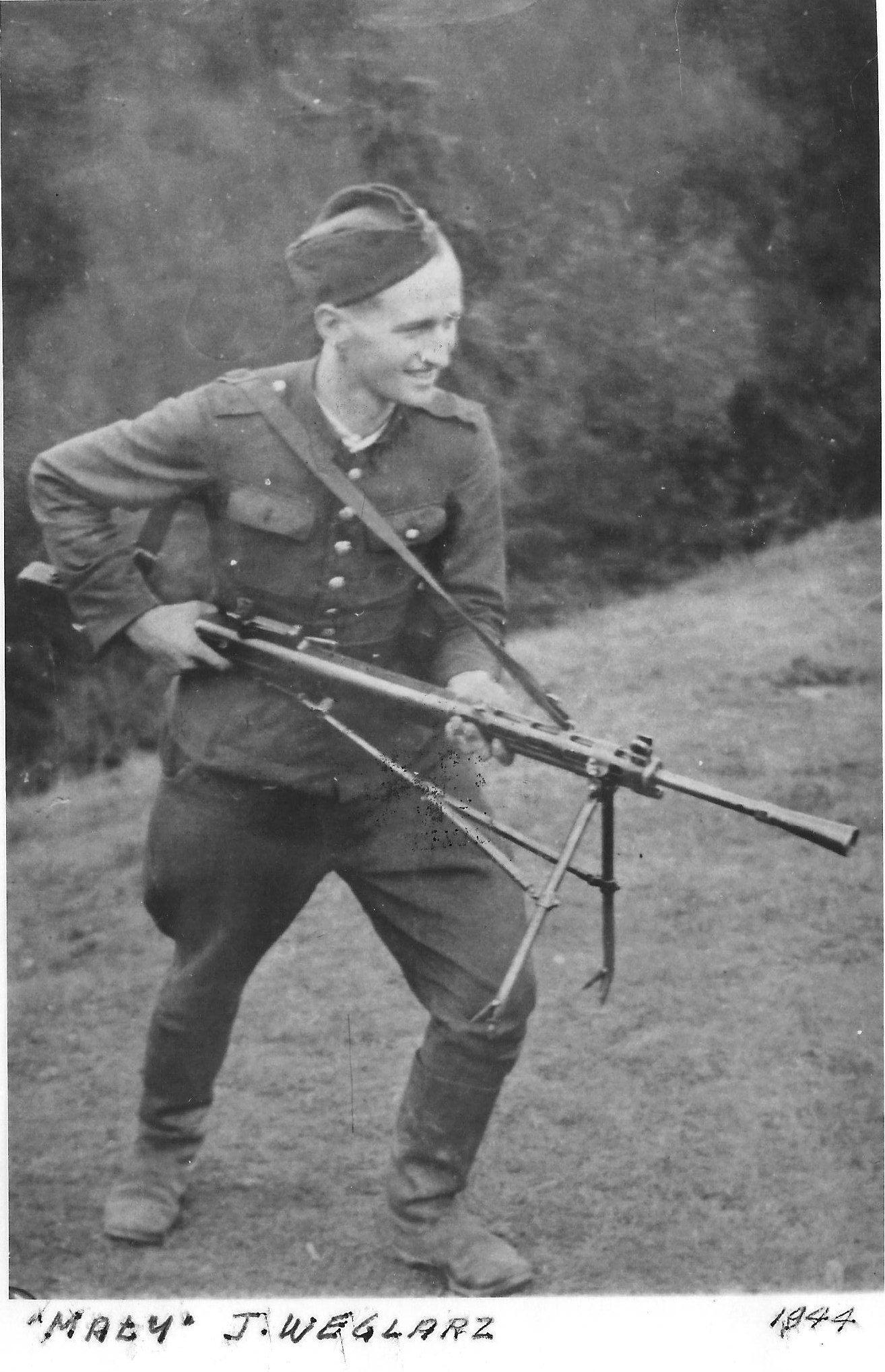 Photo: Józef Węglarz  ps Mały  With Rifle in 1944