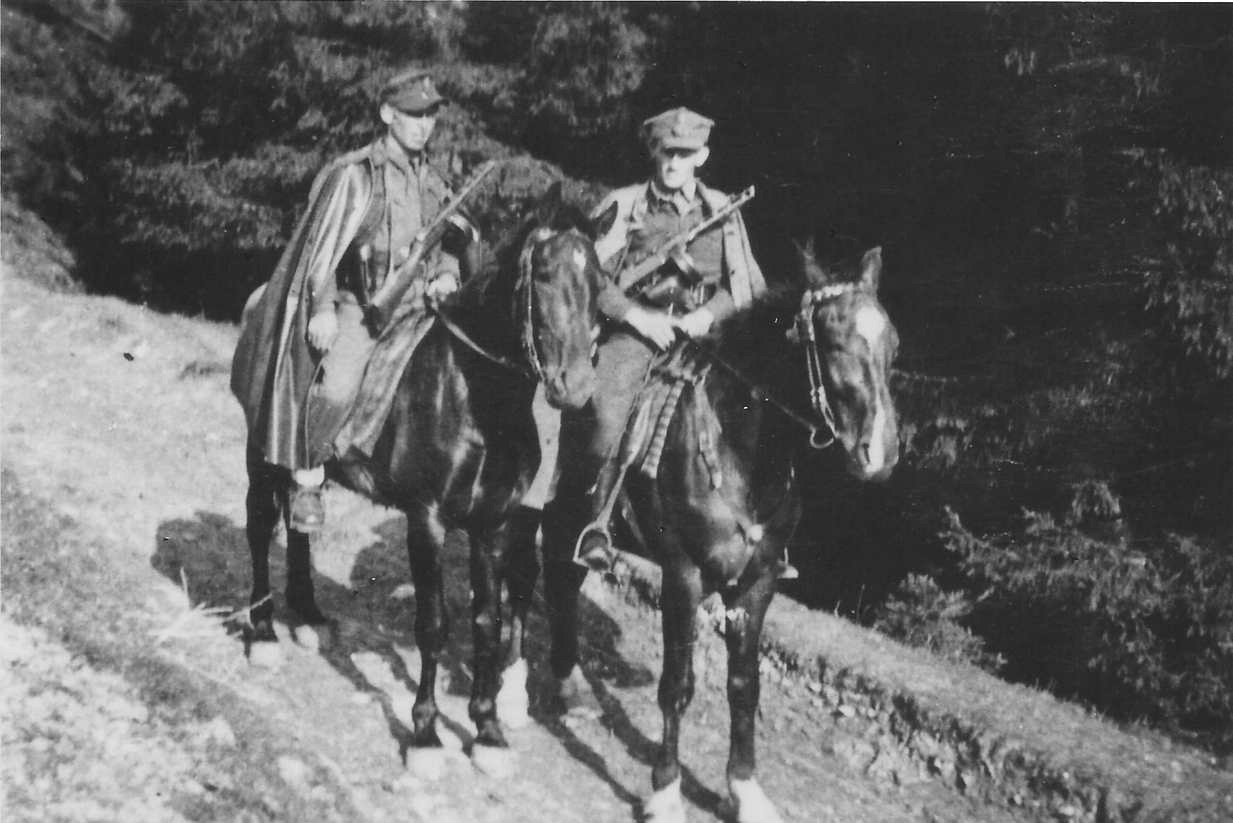 Photo:   Janek  Węglarz ps Antek  and his Brother Józef Węglarz  ps Mały on Horseback