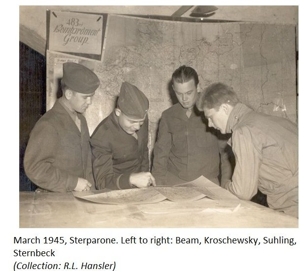 PHOTO of Evading B17G Crew Beam, Kroschewsky, Suhling, Sternbeck March 1945 in Starpaone Italy