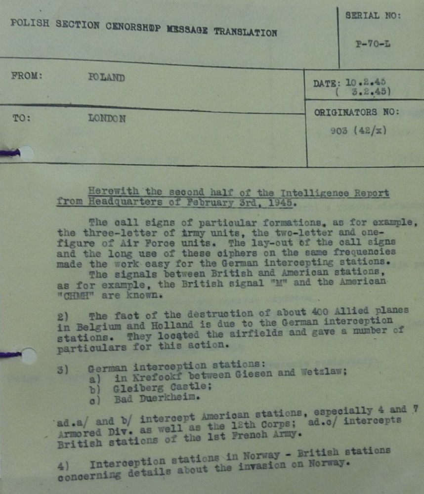 Intelligence  Report of Informant Discovering a CIPHER Code Breach  Early 1945 pt 2