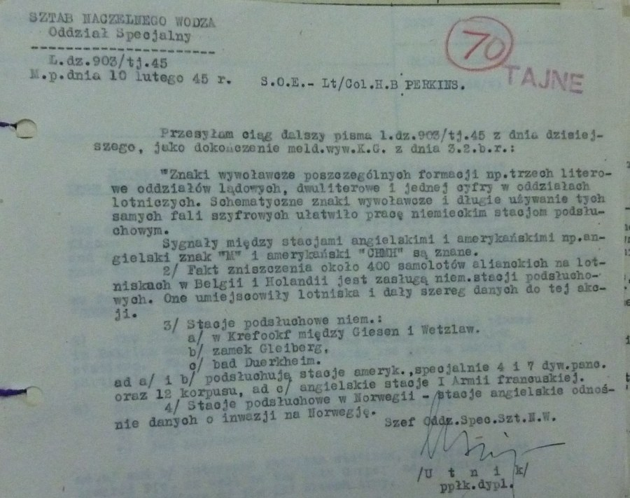 Intelligence  Report of Informant Discovering a CIPHER Code Breach  Early 1945 Polish