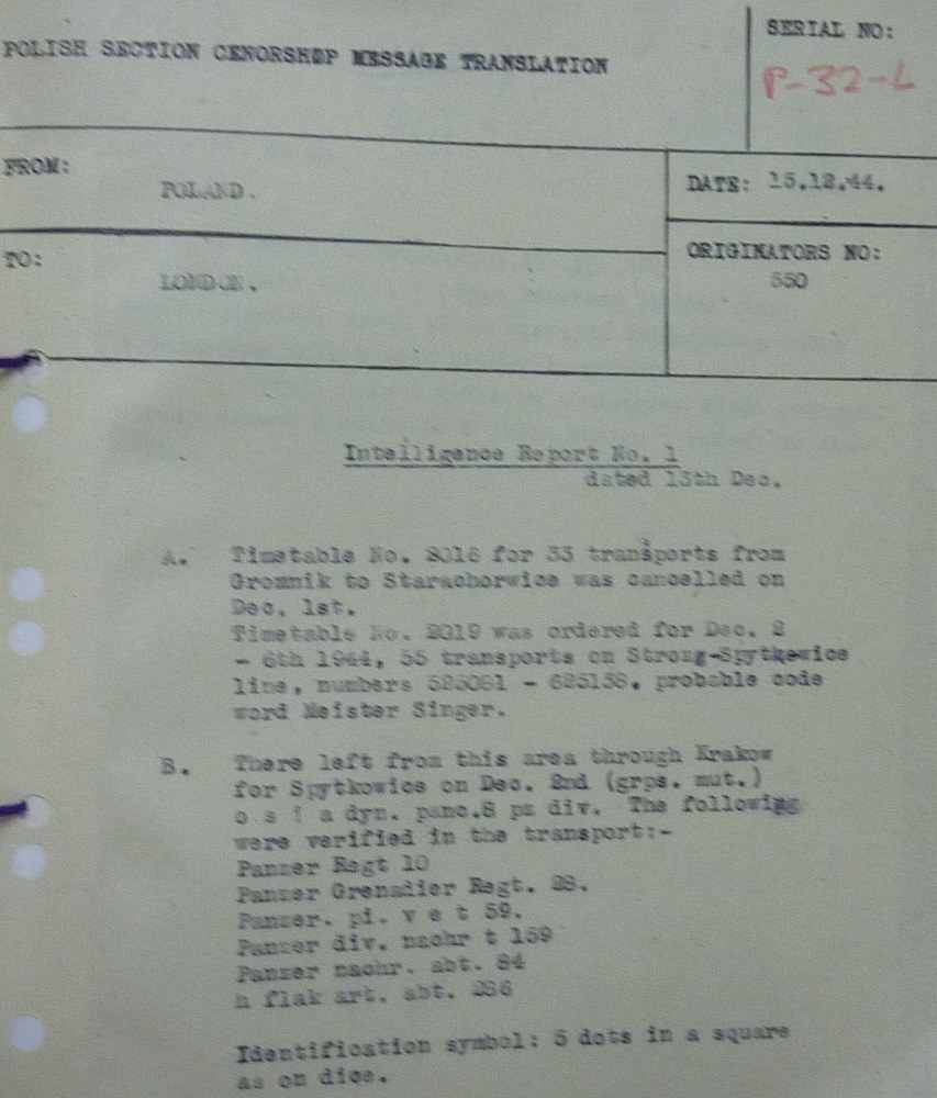 Partisan Intelligence Report on German Transports