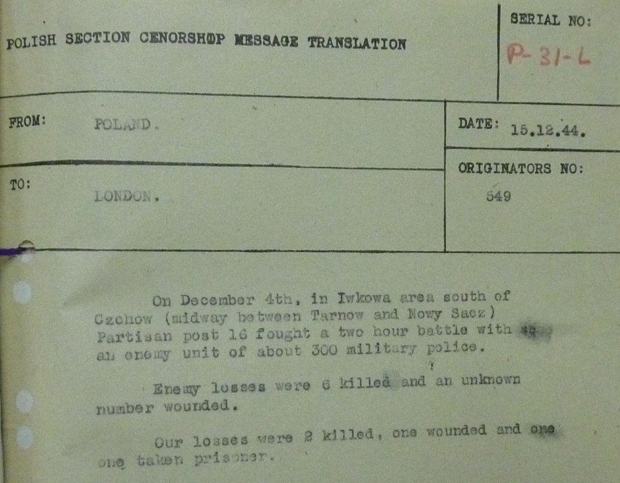 Dec 4 1944 Partisan Report for Iwkowa