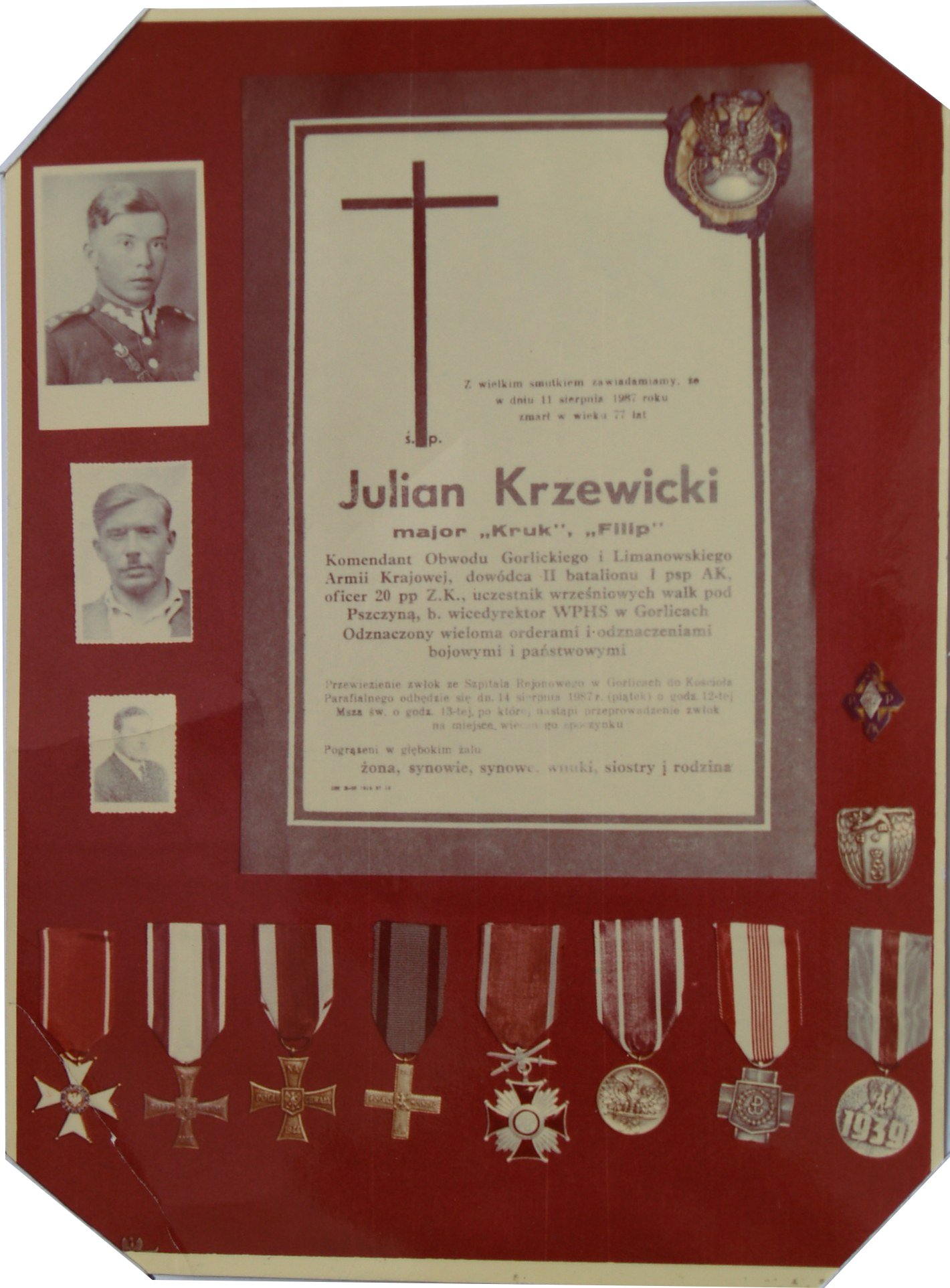 PHOTO of Plaque Commemerating Julian Krzewicki Military Achievements During WW II