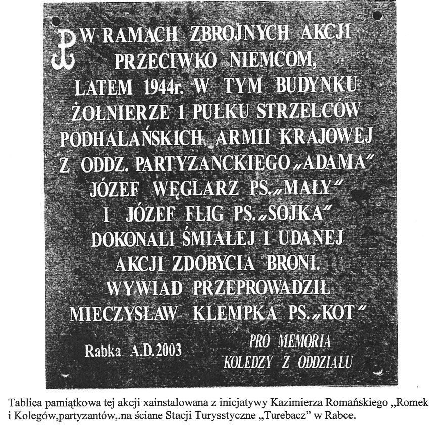 Image: 2003 Plaque Rembering TOURIST STATION TURBACZ  MSZYCA Raid Summer 1944