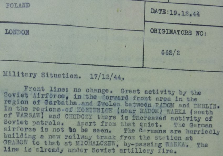 Radio Communications Message From Poland re Military Situation Circa Dec 17 1944