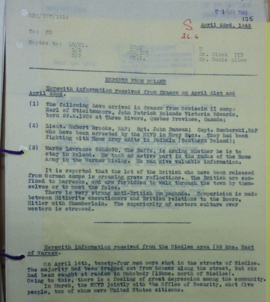 Image of April 23, 1945 British Summary Report Indicating Brooks, Duncan and Sambroski (aka Schöffer) had been captured by NKVD