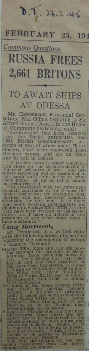 Daily Telegraph Feb 23 1945 News Article on British House of Commons Discussion on Formation of Repatriation Camp in Odessa