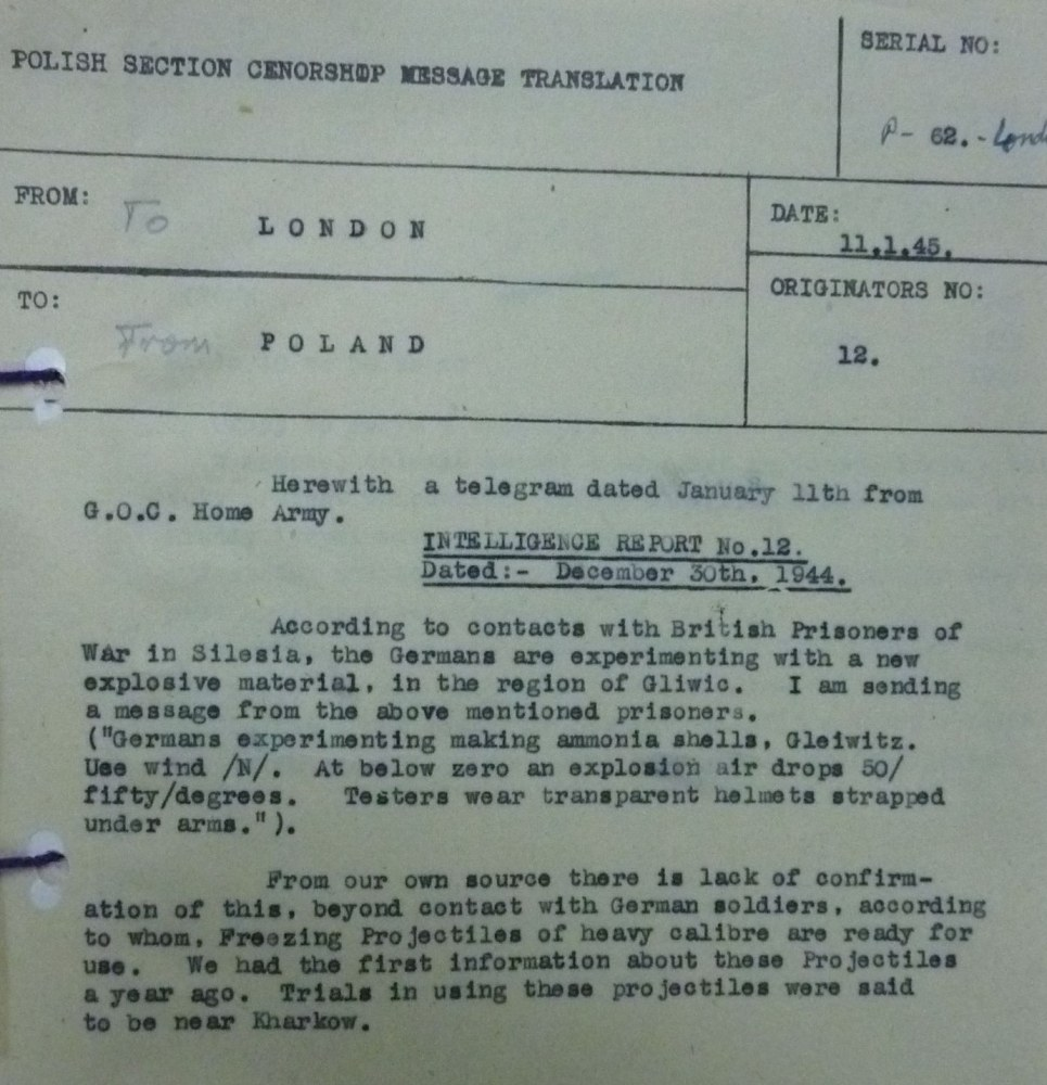 Image of Intelligence Report  with POW info on German new Explosive Material