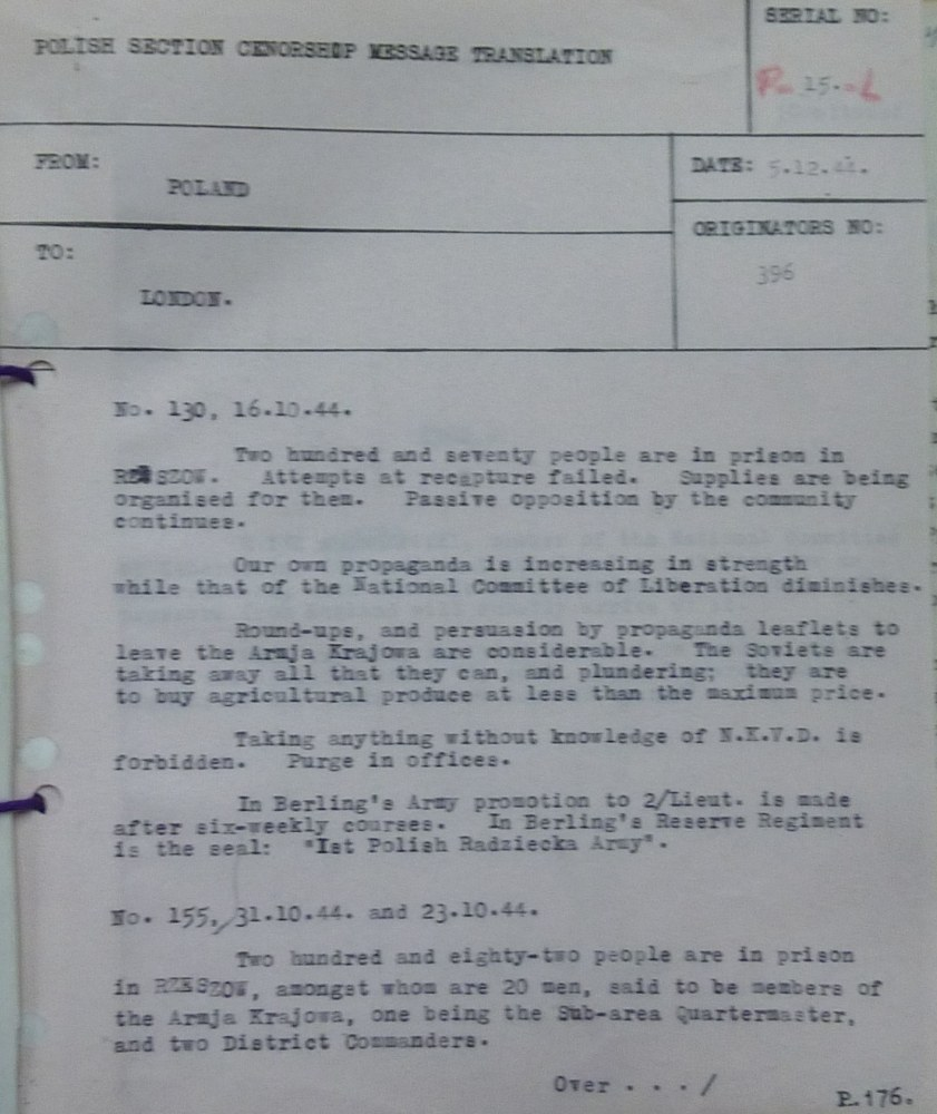 Image of Intelligence Report  Regarding Status On The Ground October 1944