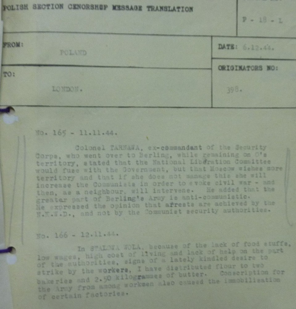 Image of Intelligence Report  Regarding Status On The Ground November 1944