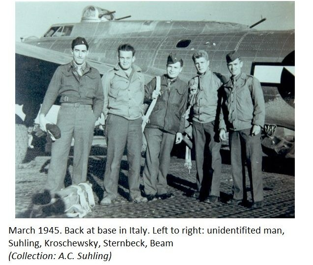 PHOTO of Evading B17G Crew Suhling, Kroschewsky,  Sternbeck, Beam March 1945 in Starpaone Italy