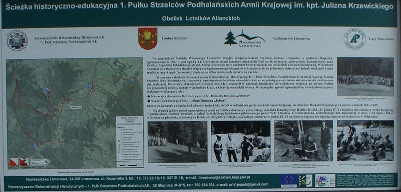 Close Up Image of Zapraszamy Information Board Referencing Hubert Brooks on Tymbark Poland  remembrance trail commemorating  the Polish Home Army during WW 2