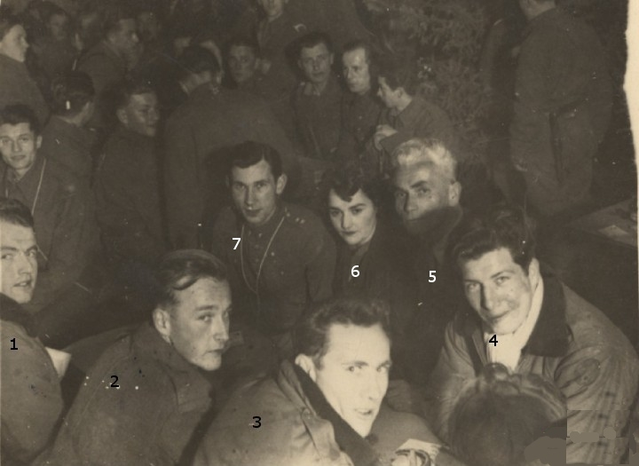 PHOTO: Downed Allied Airmen Celebrate Xmas Eve 1944 with Their Polish Hosts  at the Bukowkach Szczawa Sawmill