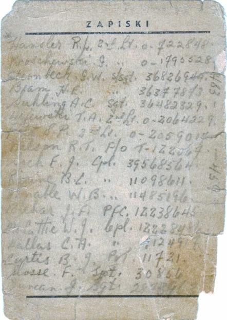 Photo of Page from Hubert Brooks Notebook of names of Allied airmen protected by Poles
