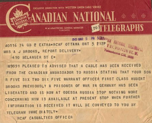 Telegram to Hubert Brooks' parents saying he was in Odessa