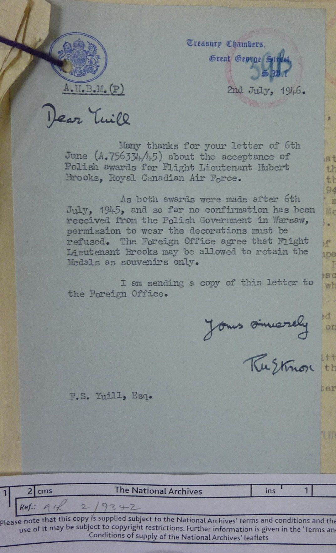 Image British Gov Ltr 1 re Hubert Brooks Award